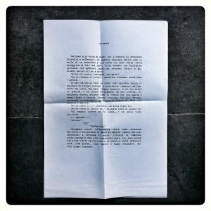 """Dattiloscritto originale di """"No Mercy"""" di David Napolitano"""